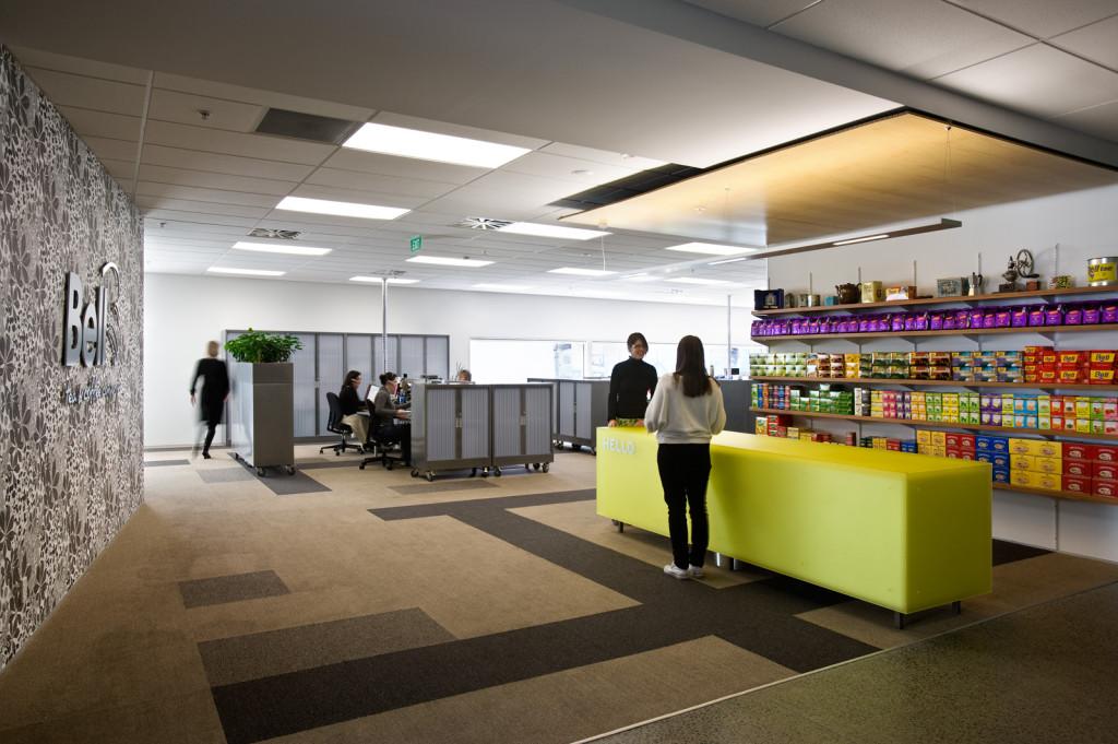 Corporate Interiors Bell Tea Office Warehouse Aspec Construction Auckland